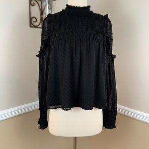 Zara Black Swiss Dot Sheer Long Sleeve Blouse Top